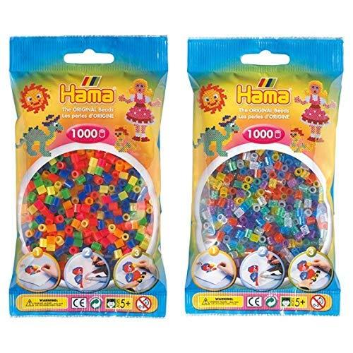 Hama 207-51 - Bügelperlen im Beutel, ca. 1000 Stück, neon-Mix &  207-54 - Bügelperlen im Beutel, ca. 1000 Stück, glitzer-Mix