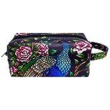 Bolsa de cosméticos de viaje con diseño de pavo real para mujer, piel de microfibra, con cremallera