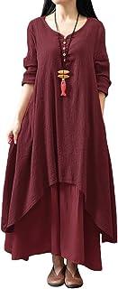 Romacci فستان Boho كاجوال غير منتظم فساتين ماكسي طبقة خمر فضفاض طويل الأكمام كتان اللباس مع جيوب