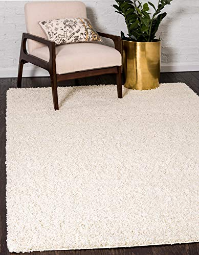 Unique Loom Solo Solid Shag Collection Modern Plush Pure Ivory Area Rug (6