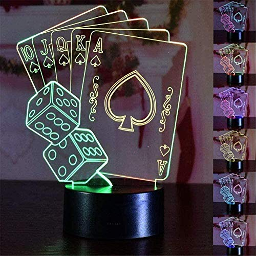 Tatapai 3D Night Lights for Children Kids Night Lamp Playing Cards Toys for Boys 16 LED Colors Changing Lighting Touch USB Charge Table Desk Bedroom Decoration Cool Gifts Ideas Birthday Xmas Gift