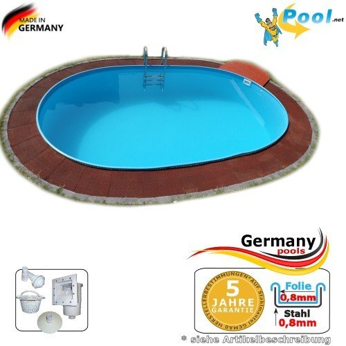 Ovalpool 6,23 x 3,60 x 1,35 Stahlwandpool Swimmingpool Ovalbecken 6,23 x 3,6 x 1,35 Schwimmbecken Stahlwandbecken Fertigpool oval Pool Einbaupool Pools Gartenpool Einbaubecken Poolbecken Set
