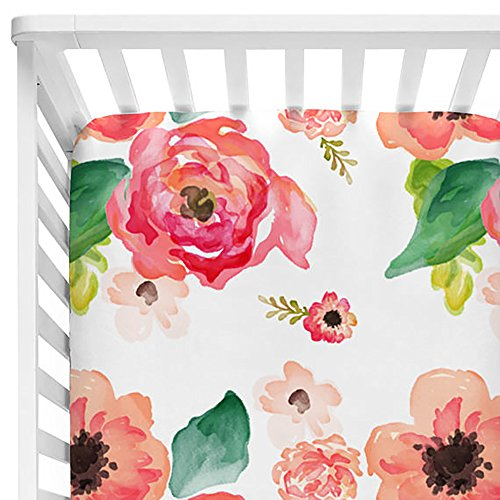 Baby Floral Fitted Crib Sheet for Boy and Girl Toddler Bed Mattresses fits Standard Crib Mattress 28x52' (Coral)