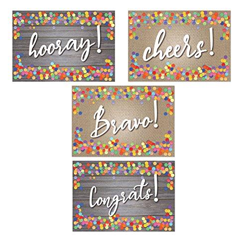 "Assorted Congratulation Postcards - Hooray, Cheers, Bravo, Congrats - 4"" x 6"" Postcards"