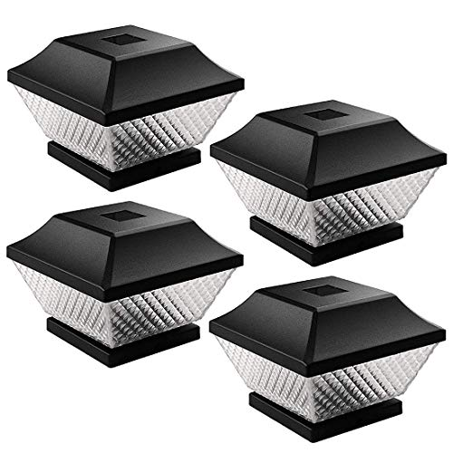 Outdoor Post Cap Lights- LED Solar Cap Lights 4 Pack Warm White Post Lighting for 4 x 4 Wooden Posts Fence Deck or Patio (Black)