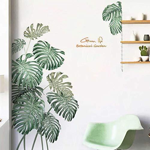goodjinHH Wandaufkleber nordische tropische Pflanzen Monstera Blätter Garten kleine frische Heimtextilien Aufkleber Tapete selbstklebend 90 x 120cm (Grün)