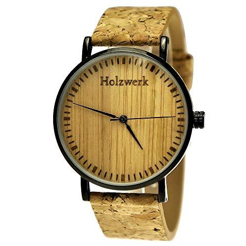Holzwerk Germany - Orologio da polso unisex, realizzato a mano, in legno, ecologico, vegano, analogico, al quarzo, cinturino in sughero, quadrante nero, marrone, Cinghia