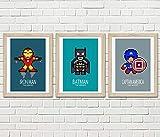 3 affiches A4 super heros, Batman, Ironman, captain america
