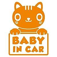 imoninn BABY in car ステッカー 【シンプル版】 No.24 ねこさん (オレンジ色)