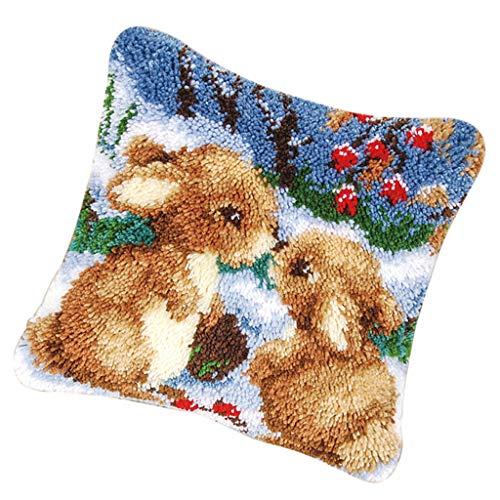 B Baosity DIY Kissen Hülle Zierkissenbezüge zum Selber Knüpfen, Knüpfwolle, Knüpfset Knüpfkissen für Kinder und Erwachsene - Kaninchen