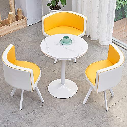 JU FU Tisch und Stuhl Set, Home Europäische Freizeit Tisch und Stuhl Kombination Büro Cafe Einfach Round Table, 7 Farben erhältlich (Color : F)