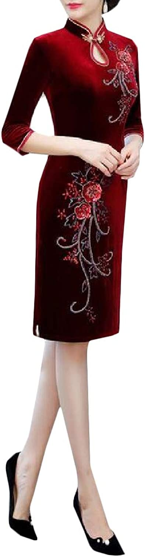 PandapangCA Womens Stylish Stand Collar Qipao Half Sleeve Velour Wedding Dresses