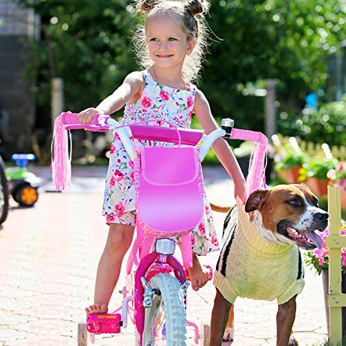 BAPHILE Bike Accessories for Kids Girls Bike Bicycle Decorations Including Pink Bike Handlebar Grips, Bike Streamers, Butterfly B   ike Wheel Spokes, Flower Bell and Stickers,Rabbit Balloon