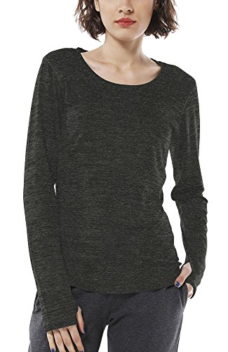 icyzone Damen Laufshirt Sport Training Langarm Shirt mit Daumenloch (L, Black)