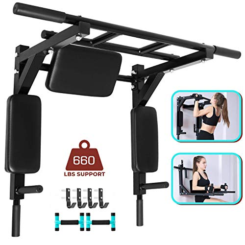 VEVOR Wall Mounted Pull Up Bar 2 in 1 Chin-Up Bar Dip Stand Power Home Gym Tower Set for Home Gym Strength Training Equipment for Indoor and Outdoor Use, Black