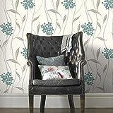Superfresco Elise - Papel pintado con textura floral, color verde azulado/plateado