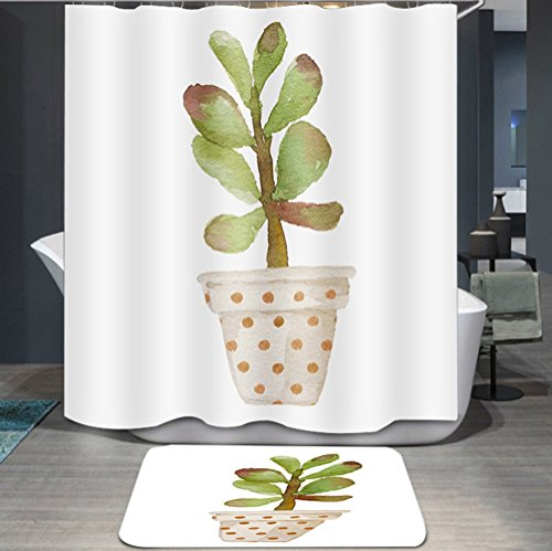 Ommda douchegordijn, textiel, waterdicht, antischimmel, planten, digitale print, wasbaar met 12 douchegordijnringen 120x200cm Potplanten F