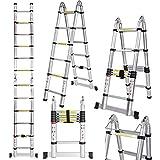 Voluker 3.8M Escaleras plegables aluminio,Escalera Telescópica ,1.9M+1.9M,Escalera aluminio Carga...