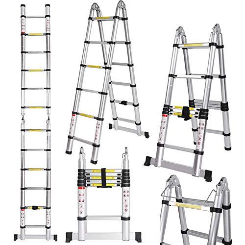 Voluker–Teleskopleiter aus Aluminium, ,5Meter, Klappleiter, ausziehbarer Leiter, maximale Traglast: 150 kg.