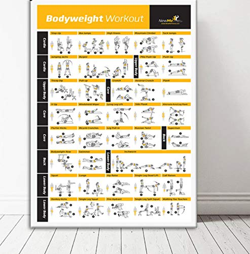 QINGRENJIE Bodybuilding Gym Sport Fitness Suspension Poster Pilates Workout Ejercicio Estiramiento Gráfico de Entrenamiento Art Poster Print Home Decor 50 * 70Cm Sin Marco
