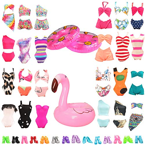 Miunana 12 Items = 5 Swimsuits + 5 Shoes + 2 Swimming Ring Summer Clothes for 11.5 Inch Girl Doll (Random Style)