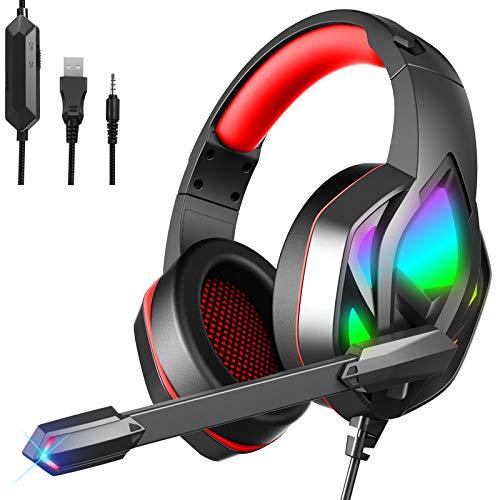Cascos Gaming para Xbox One PS5 PS4 PC Nintendo Switch, Auriculares Gaming con Microfono Cancelación de Ruido y Premium Stereo, Orejeras Acolchadas Cómodo y Diadema Ajustable, Iluminación RGB, Rojo