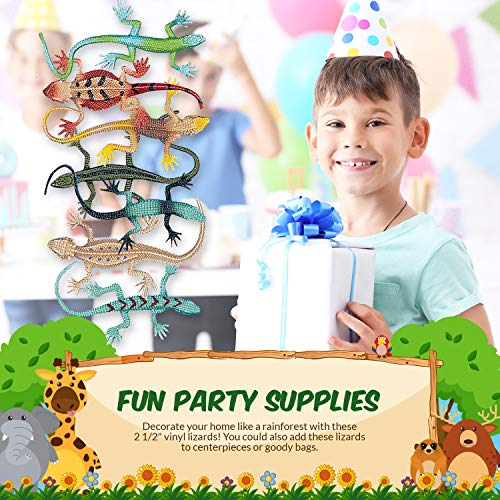 Fun Express Vinyl Lizard Assortment | 48 Count | Great for Children's Party, Birthday Bash, Themed Parties, Giveaways or Party Favors