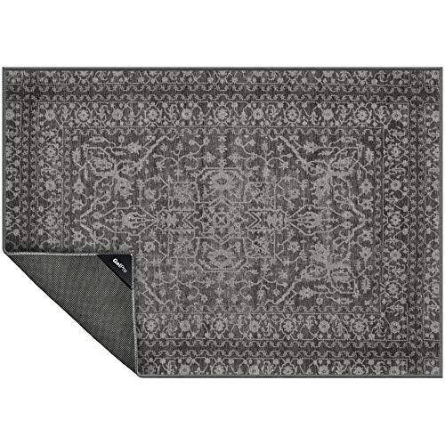 GelPro Nevermove Artisan Accent Machine-Washable, 24x34, Bella Persian Charcoal Haze (Rug Only)