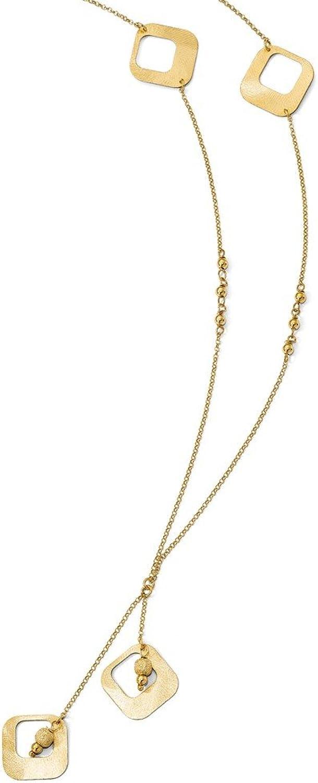 925 Sterling Silver goldplated Satin & Diamond Cut Fancy Drop 28in Necklace