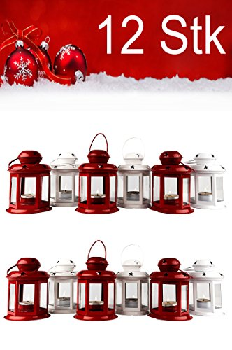 MAADES kerstlantaarn lantaarn kaarshouder metalen lantaarn rood & wit