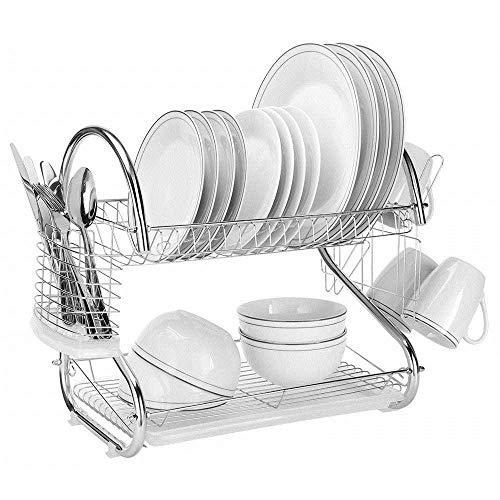 GOHHK Geschirrtrockner mit weißem Abtropfbrett, 1 breitem Geschirrregal und Messerhalterzubehör, 6 unabhängigen Becherhalterzubehör, ideal für Küchentischplatten