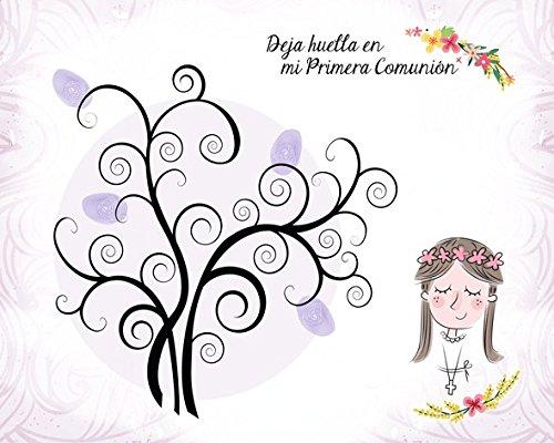 DISOK - Árboles De Huellas para Comuniones Niña - Árboles De Huellas para Bodas 60 x 40 cm - Láminas, Árboles Huellas para Personalizar para Comuniones