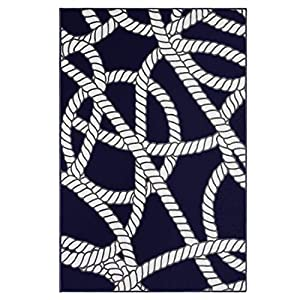 Evolur Home Belmar Nautical Nursery Rug 70″x52″ in Navy with White