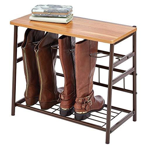 mDesign - Laarzenrek - schoenenkast - voor werkschoenen, rijlaarzen, schoenen voor buiten - voor entree, gang en in huis - voor binnen - pc espresso + rode esdoorn