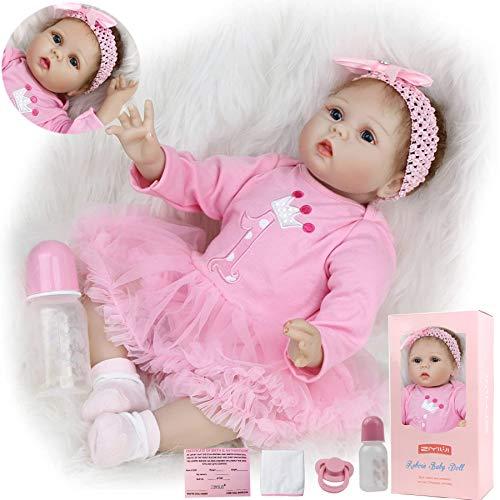 ZIYIUI Muñecas Reborn bebé 22 Pulgadas 55 cm Vinilo de Silicona Blanda Real Look Realista Muñeca Bebe Reborn niña Reales Silicona Juguetes