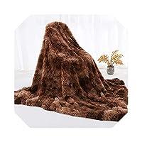 レインボーぬいぐるみスーパーソフトブランケットカラフルな寝具ソファカバー毛皮のようなファジーファー暖かいスロー冬のための居心地の良いソファブランケット-E-80x120cm