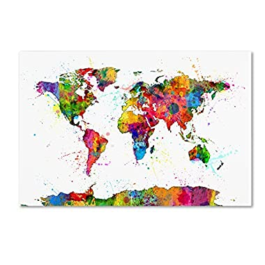 Map of The World Watercolor by Michael Tompsett, 22x32-Inch Canvas Wall Art
