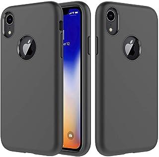 iPhone XR Case, Amuoc iPhone XR Cases Compatible iPhone XR Case Soft TPU & Hard PC Rugged Dual Layer Case 6.1 inch 2018 - Black