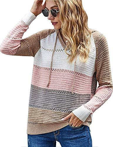 NMVB Frauen Striped Farben-Block-gestrickter Pullover aushöhlen mit V-Ausschnitt Langarm-beiläufige Pullover Pullover Pullover S - 5XL (Color : Pink, Size : Medium)