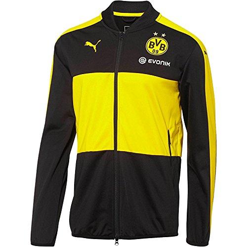 Puma Men's BVB Poly Jacket with Sponsor Logo, Black/Cyber Yellow, Small