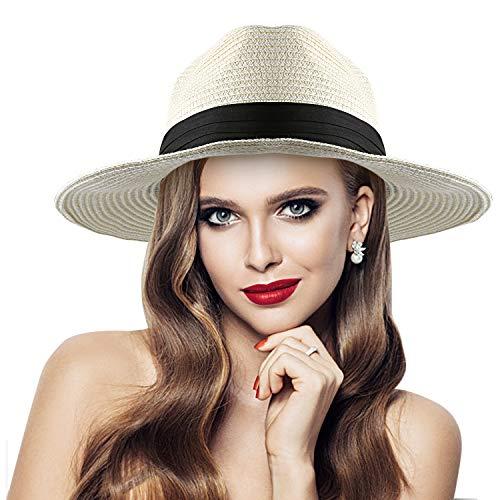 RenFox Faltbarer Elegant Strohhut Damen, Sommer Sonnenschutz Hut UV Schutz f¨¹r Sommer & Strand & Draussen & Ferien Am Meer (Milchig Wei?)