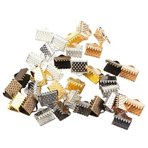 Healifty - 750 cierres de cinta chapados en 6 mm para marcapáginas con textura, extremos de abrazadera, accesorios de joyería para bricolaje