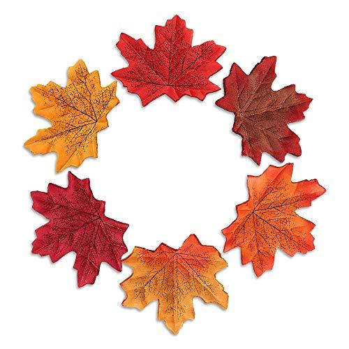 XCOZU 300 Piezas Hojas Artificiales de Arce otoñal, 6 Colores Mezclados Hojas de otoño Falsas para...
