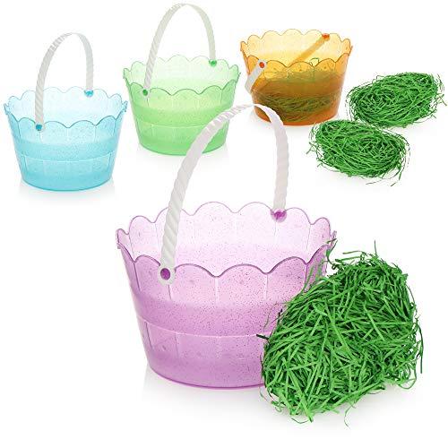 com-four® 4X Osterkörbchen mit Deko Gras, glitzernde Osterkörbe mit grünem Ostergras aus Papier, Eimer für Geschenke, Oster-Dekoration [Auswahl variiert] (4 Stück - Eimer bunt mit Gras)