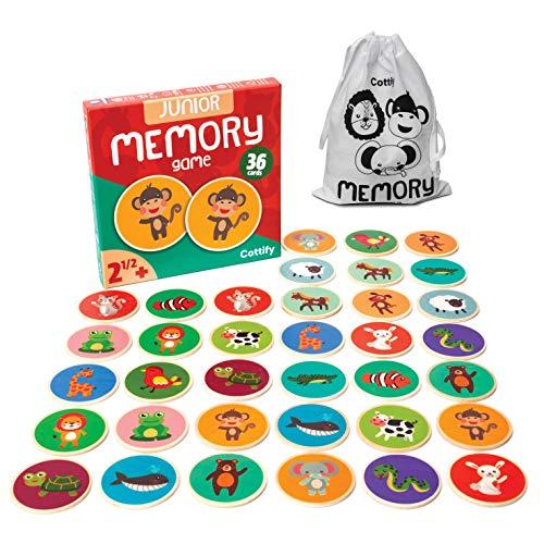 Memoria para niños con animales bonitos, madera de memoria, juguete de madera de 2 años, juego de memoria, animales de memoria, juegos para niños a partir de 2 años, memoria doble mixta, 36 tarjetas