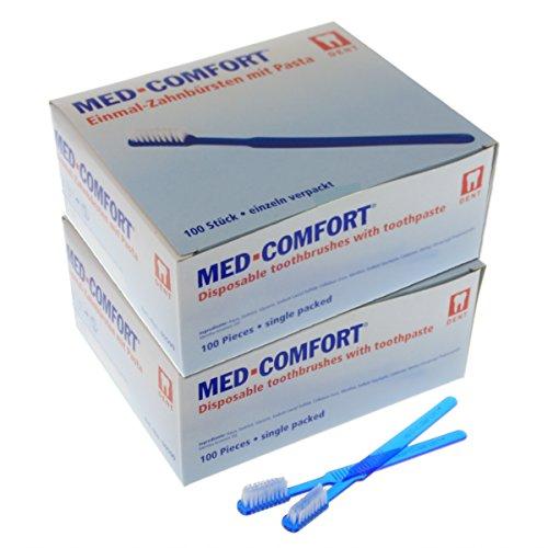 Einmal-Zahnbürsten Med-Comfort 2 x 100 Stück, Blau