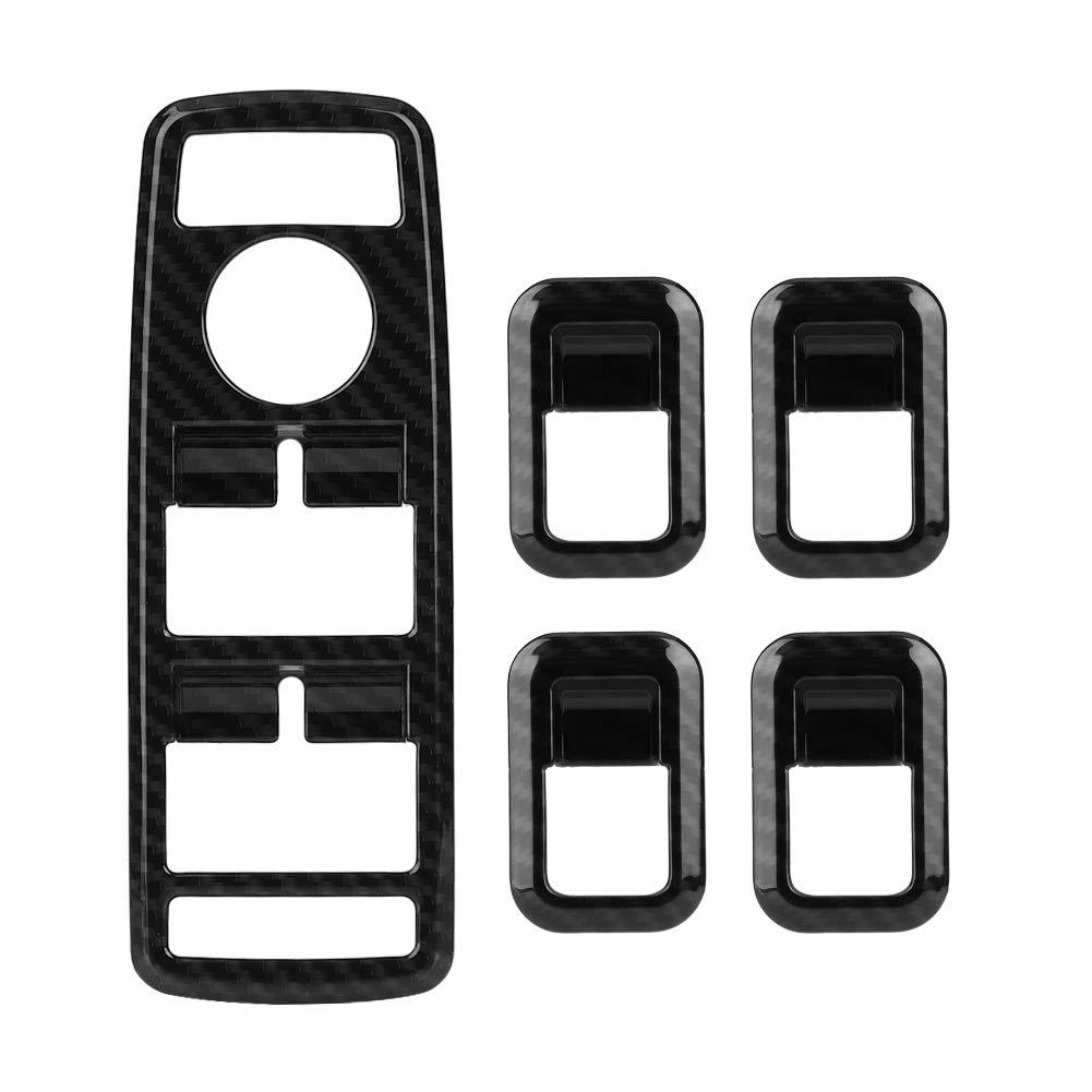 5Pcs Keenso Carbon Fiber Power Window Switch Button Cover Trim A