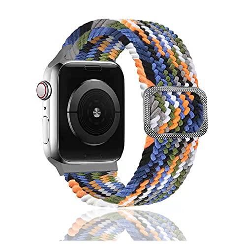 Rosok Correa de Repuesto Elástica Compatible con Apple Watch SE 42mm /44mm, Moda Transpirable, Correa de Tejer de Nylon para Apple Watch Series 6/5/4/3/2/1 42mm /44mm - Color Vaquero