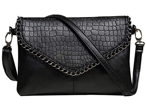 Damen-Handtasche mit Totenkopf-Motiv, Gothic-Stil, Schultertasche, - Kette - Größe: Einheitsgröße