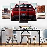 Lienzos decorativos Dodge Challenger SRT Devil-150x80 CM Cuadros Modernos Impresión de Imagen Artística Digitalizada Lienzo Decorativo Para Salón o Dormitorio 5 Piezas